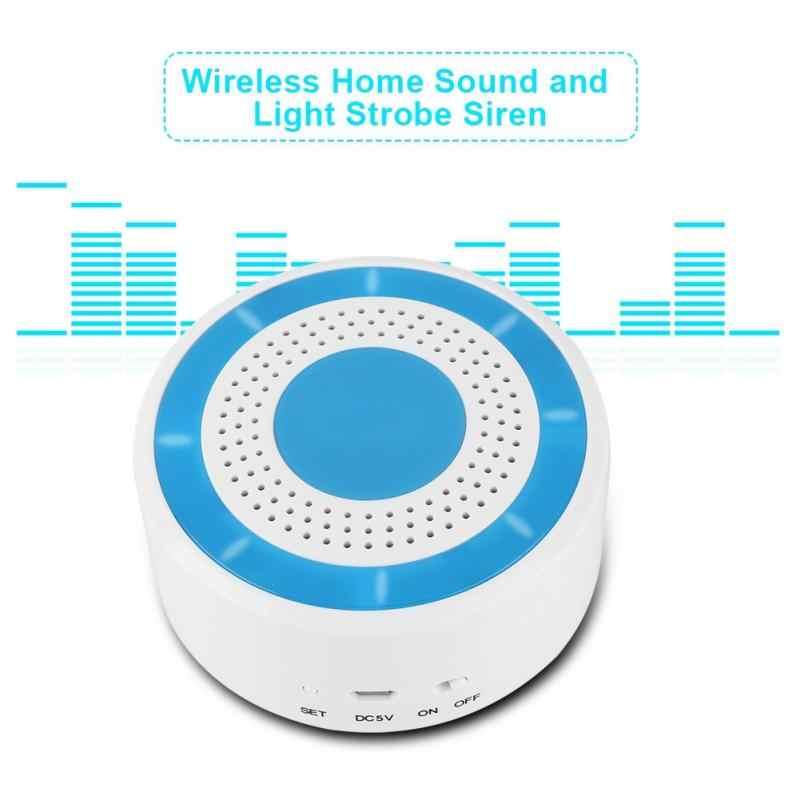 433 mhz 100dB ワイヤレスホーム音と光ストロボサイレン無線 lan Gsm 警報パネルシステム米国のプラグイン 100- 240 ボルト
