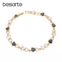 Черные браслеты с кристаллами женские золотые b1201
