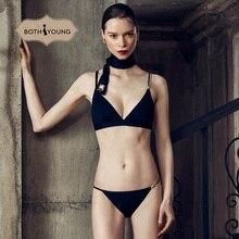 BOTHYOUNG Sexy Womens Bralette Bra Beauty Back Suspender Underwear Set Lingerie  black