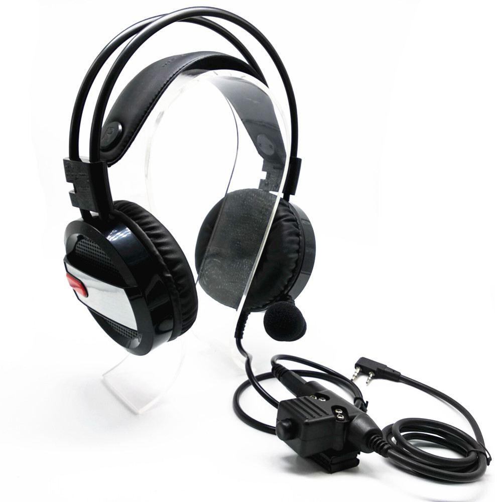 advanced Intercom Headphones Volume Adjustable U94 PTT Headphones with Glowing Lights for UV5R TH F8 TK3107