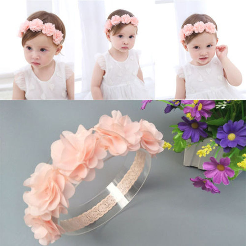 New 2019 Flower Elastic Baby Headband Girls Soft High Stretch Baby Hair Accessories Pink Lace Elastic Band Baby Girl Headbands