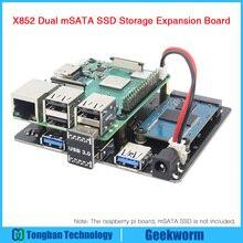 Raspberry Pi Dual msata ssd karta rozszerzenia pamięci X852 moduł USB3 dla Raspberry Pi 3 Model B + (plus)/3B/ROCK64