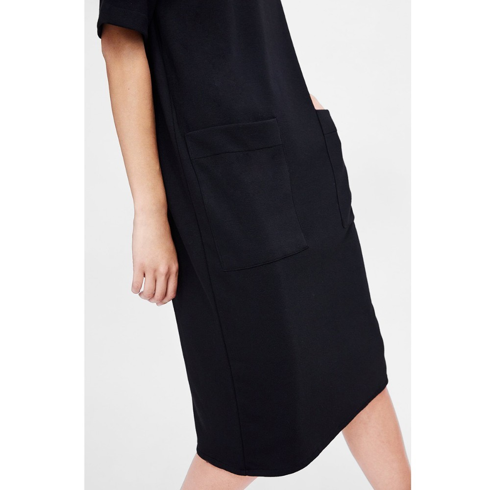 HYH HAOYIHUI Simple Straight necked Short sleeved Pocket Dress Black Solid Summer Dresses New Arrival Women in Dresses from Women 39 s Clothing