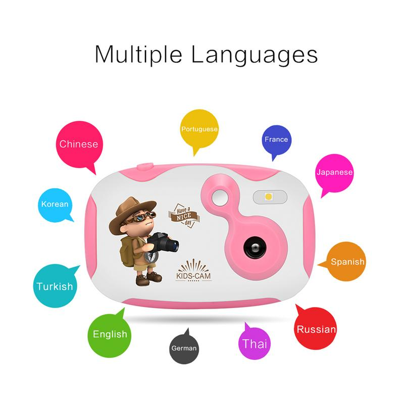 US $16 65 25% OFF|Amkov 1 44 Inch Mini Children Digital Camera With Cartoon  Stickers Kids DIY Cameras with Multiple Language support TF/SD Card-in
