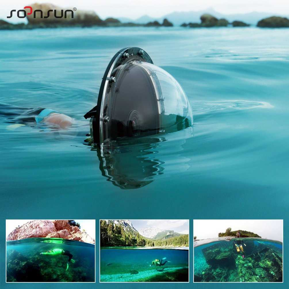 "SOONSUN 6"" Aluminum Alloy 45M Underwater Diving Camera Lens Dome Port Shell Cover for GoPro Hero 4 3+ 3 For Go Pro Accessories"