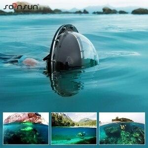 """Image 5 - SOONSUN 6 """"alüminyum alaşım 45M sualtı dalış kamera Lens Dome Port kabuk kapak GoPro Hero 4 3 + 3 git Pro aksesuarları için"""