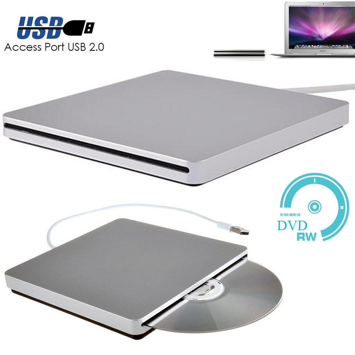 SSKYEE USB External CD DVD Rom RW Player Burner Drive For MacBook Air Pro For IMac For Mac Win8 Laptop Notebook PC Computer