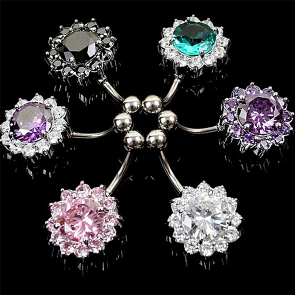 Ring Flower-Petal Belly-Button-Rings Navel Piercing Crystal Stainless-Steel Puncture