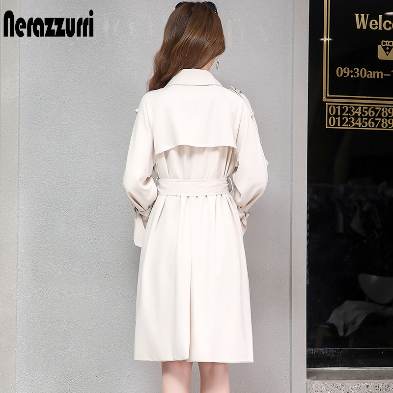 Nerazzurri trench coat for women plus size black beige pink double breasted female casual oversize long coat women 5xl 6xl 7xl-in Trench from Women's Clothing    2