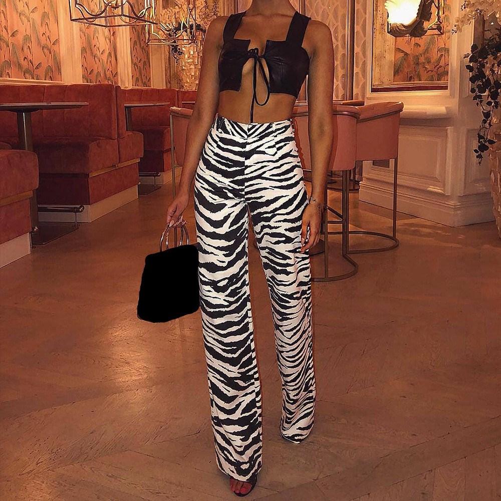 Women Fashion Zebra Print Wide Leg   Pants   Loose Fall Winter Casual Trousers Sexy High Waist Flare   Pants