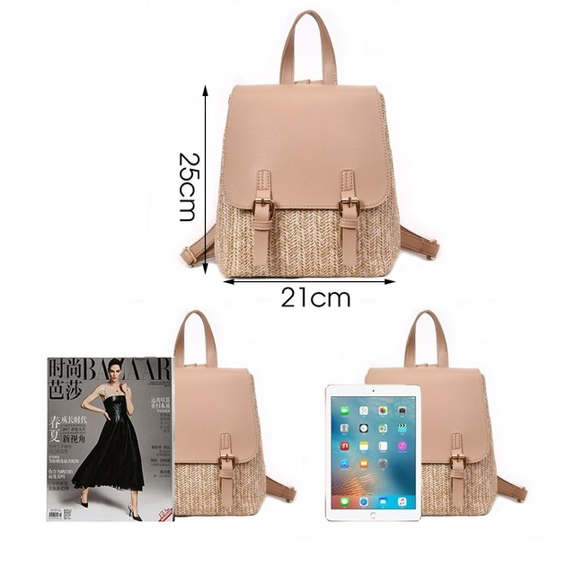 Straw Woven Backpack for Girls