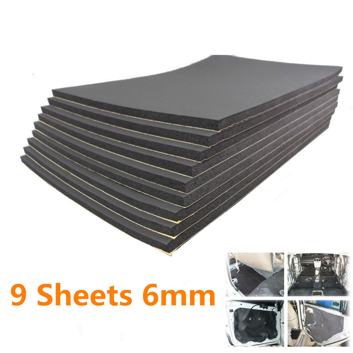 9pcs Car Sound Proof Insulation 30x50cm*6mm High Quality Rubber Plastic Auto Van Proofing Deadening Foam