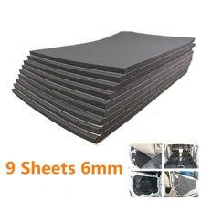 9pcs Car Sound Proof Insulation 30x50cm*6mm High Quality Rubber Plastic Auto Van Proofing Deadening Foam