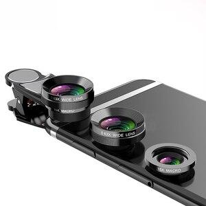 Image 2 - 4 In 1 Telefon Objektiv 0.63X Weitwinkel Makro Fisch Auge Tele Zoom Objektiv Für Samsung S8 S9 Plus Telefon kamera Objektiv Kit