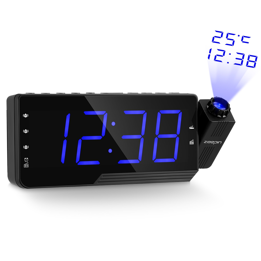 Projection Alarm Clock Projection LCD Snooze Timer Weather Temperature LED Display USB Charge Cable Table Clock Digital Radio