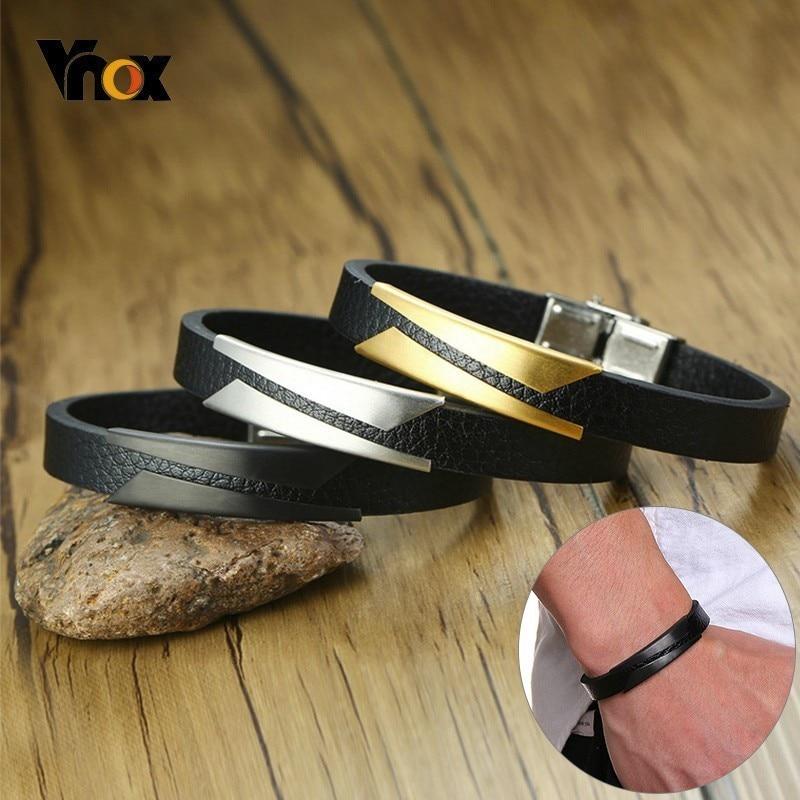 Vnox 10mm Stylish Geometric Matte Stainless Steel Bar Leather Bracelets For Men Adjustable