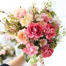 1 ramo de peonías DIY flores artificiales decoración de fiesta seda clásica flores artificiales pequeñas rosas flores sintéticas para boda Festival