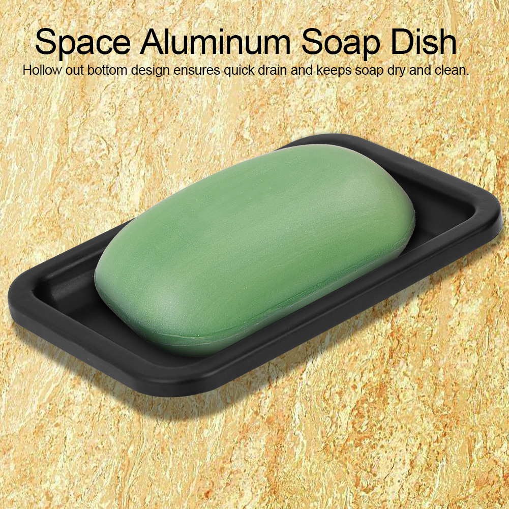 Space Aluminum Soap Dish Bracket Wall Mounted Bathroom Shower Soap Storage Plate Tray Holder Household Soap Box Container