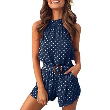 2019 Fashion Women Summer Polka Dot Print Romper Backless Beach Playsuit Sexy Off Shoulder Lace-Up Jumpsuit Casual Slim Overalls