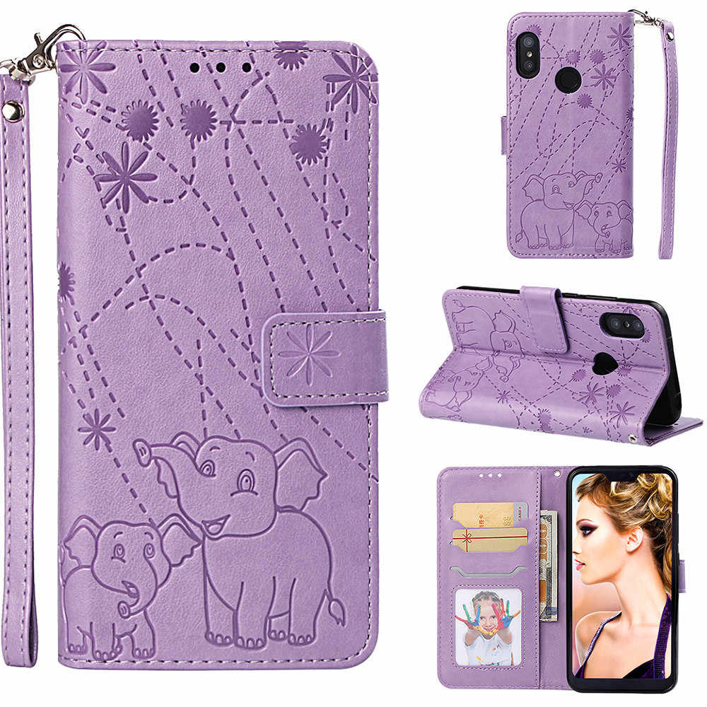 Flip Leather Book Phone Case Shell For Xiaomi Redmi Note 5 6 Prime Pro Mi A2 Lite Pocophone F1 Fireworks Elephant Embossed