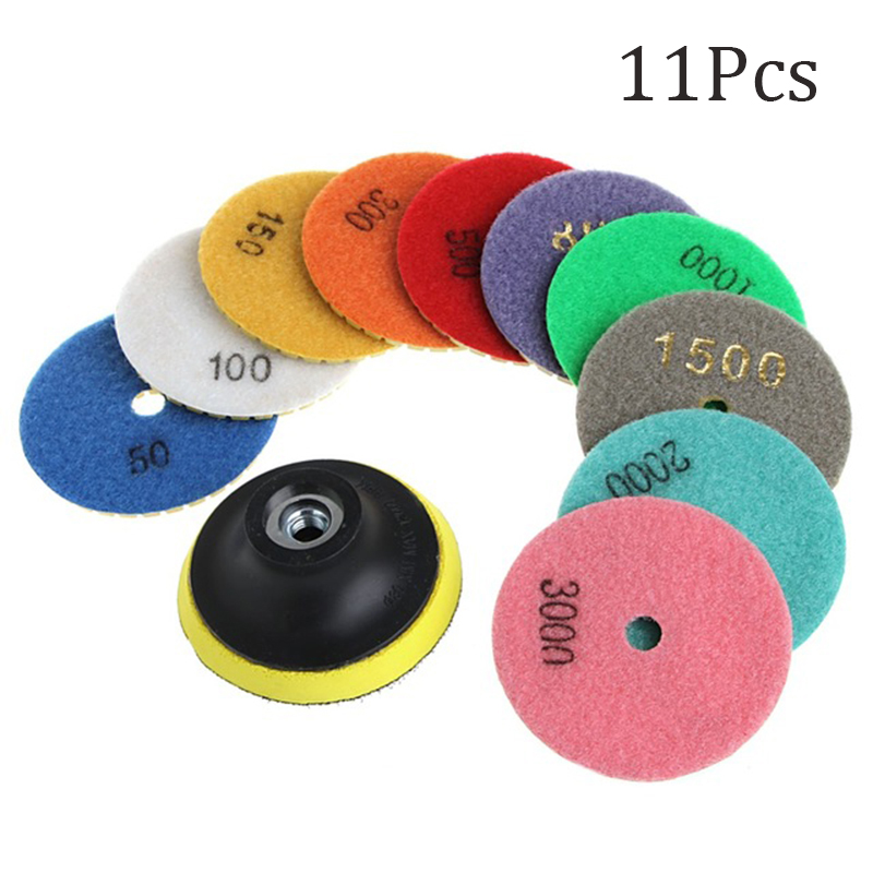11pcs/Set Diamond Polishing Pad Marble Granite Concrete Stone Grinding Buffing Disc Tool Home Garden Supplies