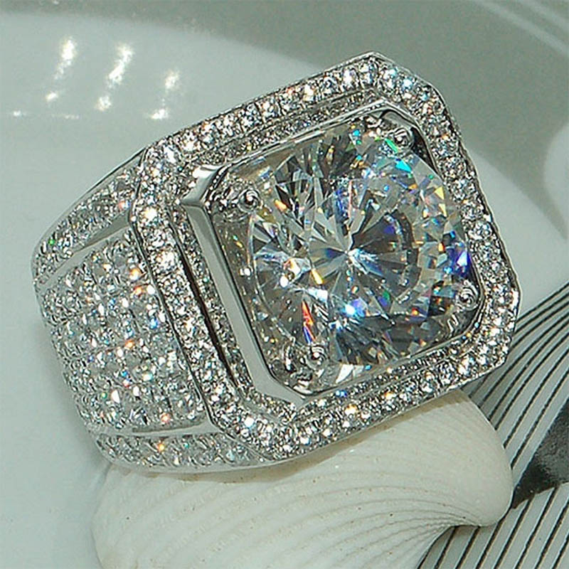 Sale 5-12 White Golden Iced Out HipHop Engagement Rings CZ Pinky Men Women Full Crystal Ring