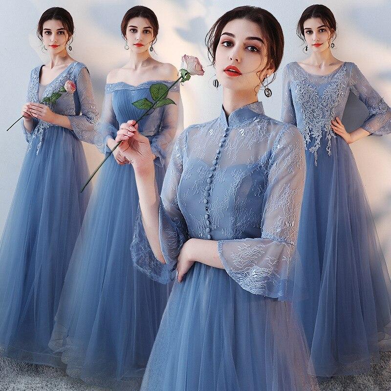 Vivian's mariée 2019 pas cher de haute qualité élégant bleu gris a-ligne robe de demoiselle d'honneur Simple moelleux manches évasées longue robe en mousseline de soie