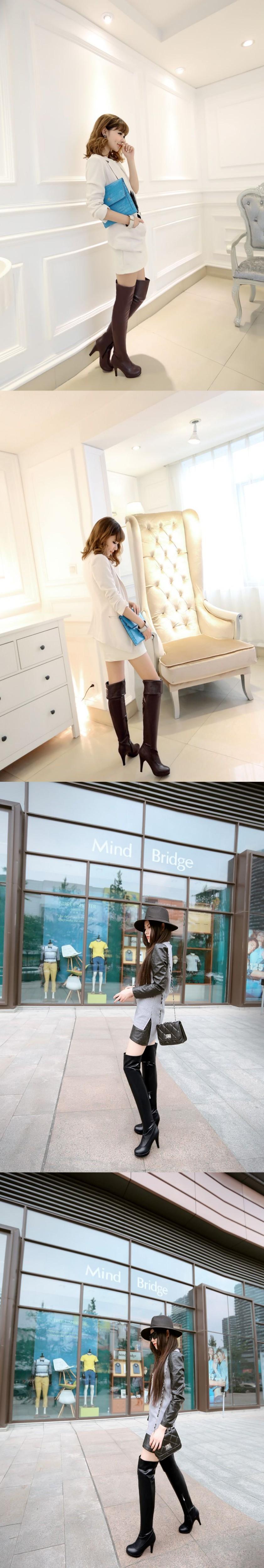 Großhandel Abstand Schwarze Frauen Overknee Oberschenkel Hohe Stiefel Damen High Heels Schuhe 580B Plus Große Größe 11 45 Von Grapeen, $26.04 Auf