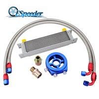 ESPEEDER 10Row AN10 Kit Adaptador Universal Do Motor Transmissão Oil Cooler Sandwich De Alumínio Linha de Nylon Mangueira de Aço Inoxidável|Tratamento e abastecimento de combustível| |  -