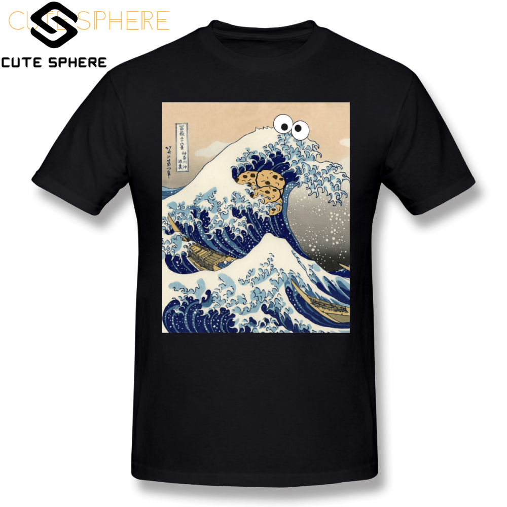 Cookie Monster T Shirt Funny Japanese Cookie Great Wave Off Kanagawa T-Shirt Mens Printed Tee Shirt Short Sleeve 4xl Tshirt