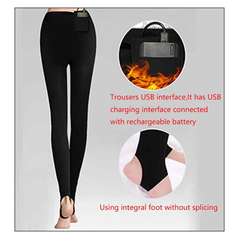 de2532339c4b7 USB Heated Outdoor Hiking Winter Sport Thermal Pants Mens Heating Travel Trousers  Leggings For Women Leggins