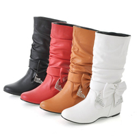 High Quality Soft Leather Women mid calf Boots Sweet Flat Heels Bowknot Woman Boots Shoes Ladies Red White Black Winter Booties
