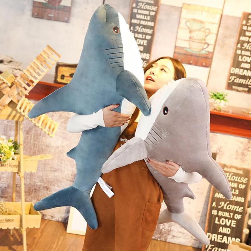 80/100 centímetros Tamanho Grande Tubarão Engraçado Macio Brinquedo de Pelúcia Travesseiro Almofada Meninas Animais Apaziguar Leitura Travesseiro Presente do Feriado Do Aniversário Do Natal