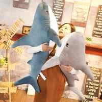 80/100cm tamanho grande engraçado macio tubarão brinquedo de pelúcia travesseiro apaziguar almofada meninas animal leitura travesseiro feriado aniversário presente natal
