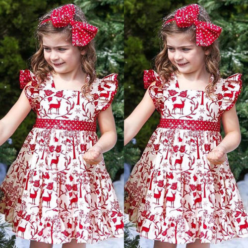 Christmas Newborn Baby Girl Dress Deer Print Bowknot Sleeveless Mini Dress Princess Party Dresses Baby Formal Pageant Dresses