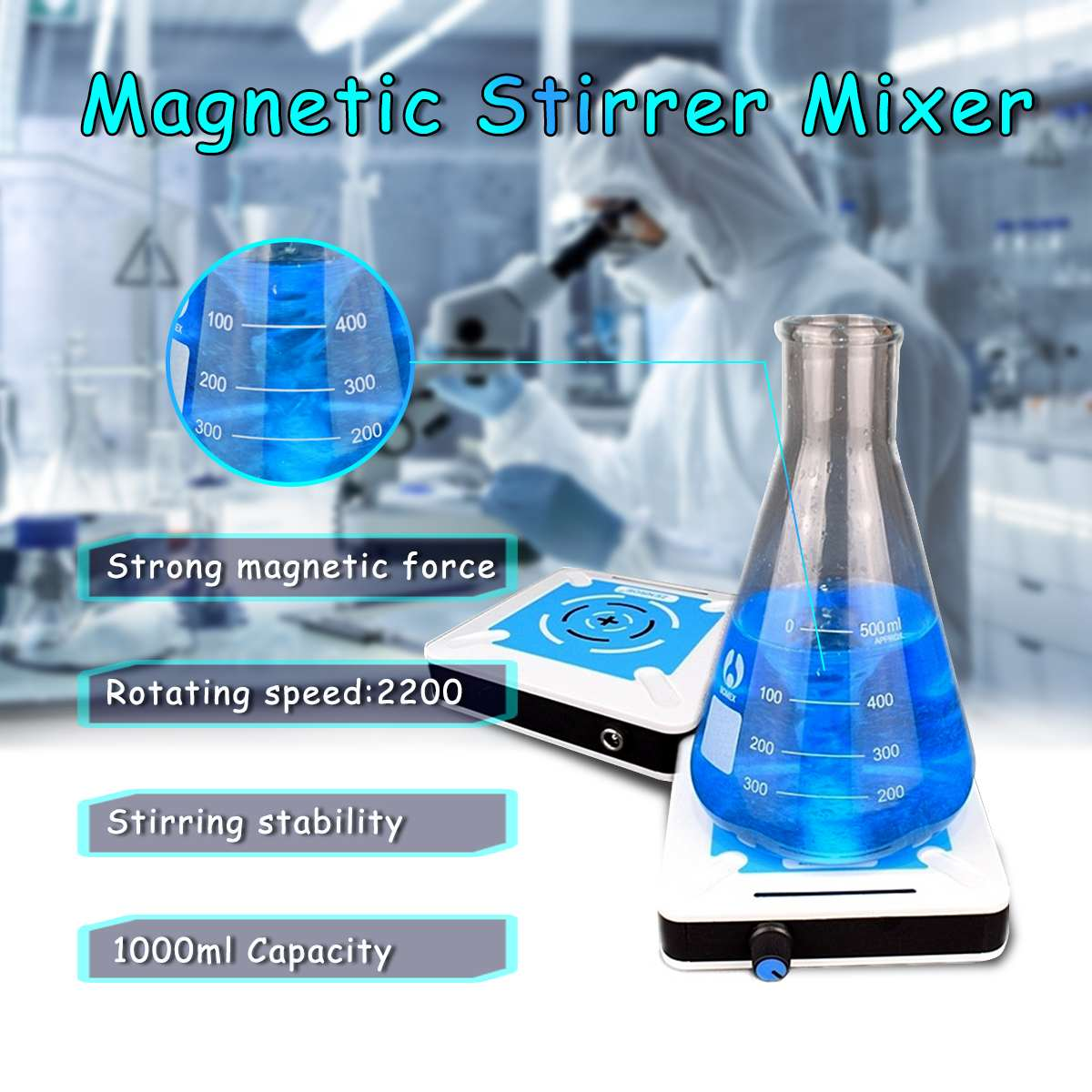 1L 1000ML 0-2200r/min Magnetic Stirrer Mixer With Stirring Bar Agitator Laboratory Miniature Speed Magnetic Stirrer Mini Mixer