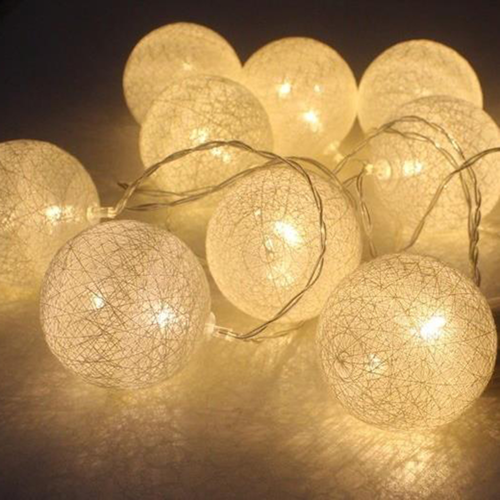 1.3 M 10 Led Cotton Ball Battery Box Light String Yarn Ball Christmas Day Interior Decoration String Party Decorative Light Fine Craftsmanship