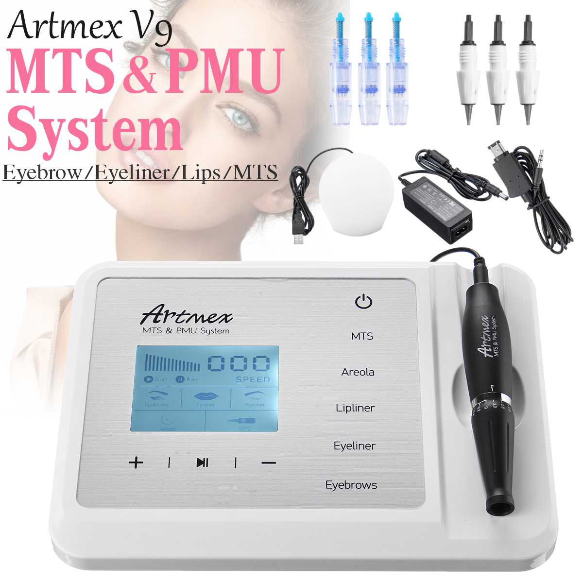 Newest Permanent Makeup Tattoo Machine Artmex V9 Eye Brow Lip Rotary Pen MTS PMU System With V9 Tattoo NeedleNewest Permanent Makeup Tattoo Machine Artmex V9 Eye Brow Lip Rotary Pen MTS PMU System With V9 Tattoo Needle