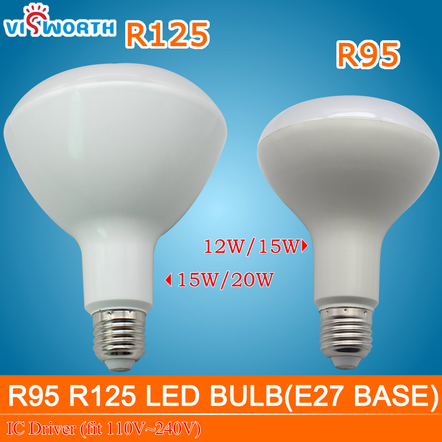 NEW E27 <font><b>led</b></font> lamp r95 r125 <font><b>led</b></font> bulb 12w <font><b>15w</b></font> 20w <font><b>led</b></font> light ac 110v <font><b>220v</b></font> 240v ic driver <font><b>led</b></font> warm colde white light for livingroom image