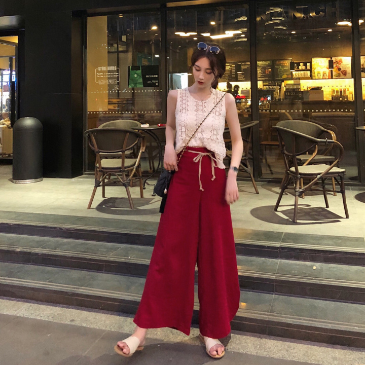 2019 new oversize red white Woman   Wide     Leg     Pants   Loose Casual Ankle-Length Female Trousers Summer Harem   Pants   Ladies Plus Size