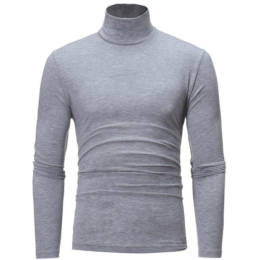2019 新秋冬メンズセーターメンズタートルネック無地カジュアルなセーターの男性のスリムフィットブランドニットプルオーバー 7 色