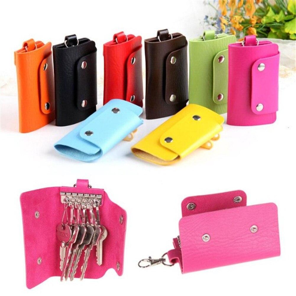 1 Pc Unisex Solide Leder Haushälterin Schlüssel Halter Männer Frauen Tragbare Abdeckung Schlüssel Veranstalter Brieftasche Auto Schlüssel Fall Tasche Beutel Keychain