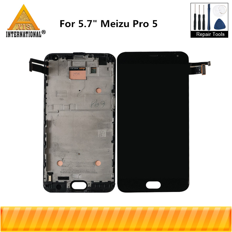 For 5 7 Meizu Pro 5 Pro5 Axisinternational LCD Screen Display Touch Panel Digitizer With Frame