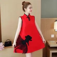 c555007b1 2019 Wanita Hamil Musim Panas Gaya Cina Vintage Bordir Cheongsam Fashion  Gaun Plus Ukuran Maternity A