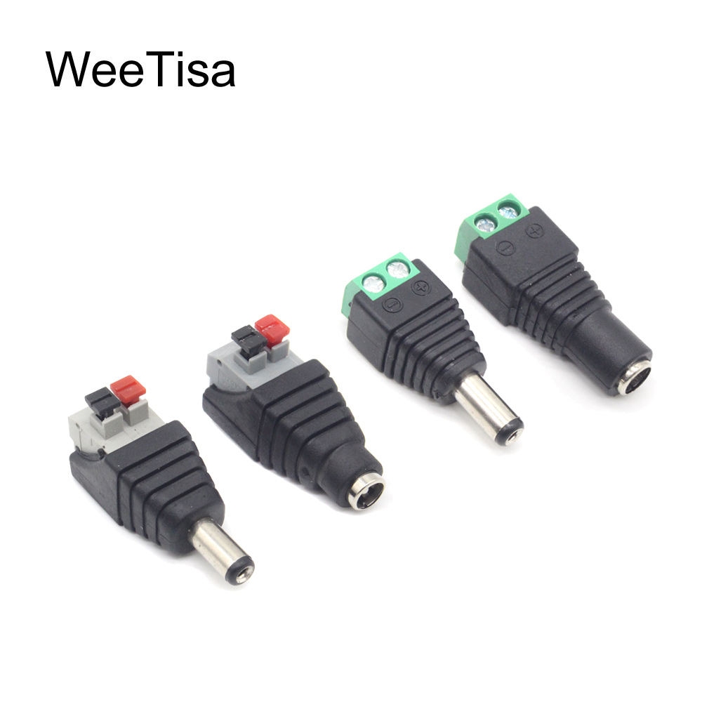 Famale Male DC Power Plug Adapter Connector 5.5mm x 2.1mm 5050 2835 5060 Single Color LED Strip Press Connector for CCTV Cameras