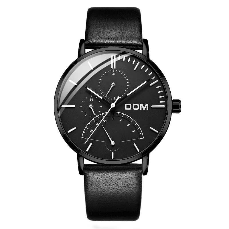 DOM Men's Leather Watch Deluxe Multifunction Men's Sports Quartz Watch Waterproof Week Calendar Business Clock Watch