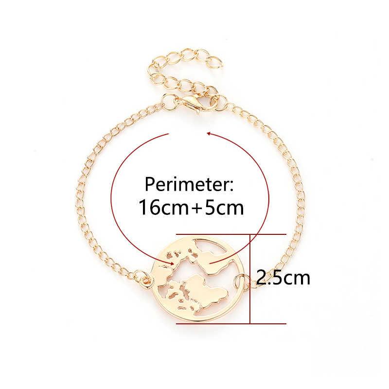 สร้อยข้อมือ World แผนที่ปรับได้ 1 ชิ้น Earth เงิน Wanderlust Chain Link Golden วงกลมสีดำของขวัญวาเลนไทน์ Travel Jewellery