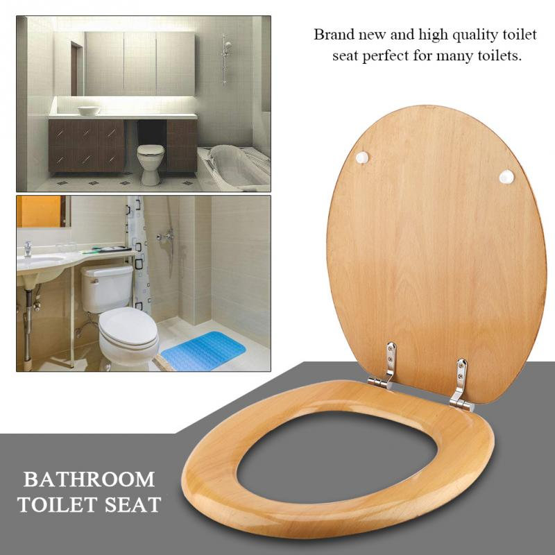 Toilet Seat With Adjustable Hinges Beech Material Home Bathroom Accessory Decor Wood Color Toilet Seats Cover Plate Tapa Inodoro