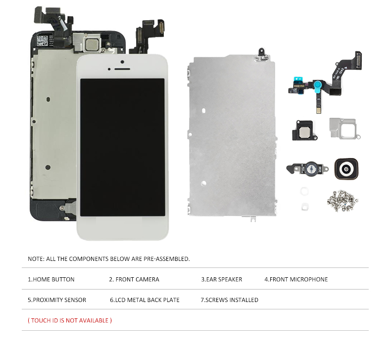 Image 3 - Full Set Assembly LCD Screen for iPhone 5/5C/5S/SE LCD Display Touch Digitizer Complete Screen Replacement Pantalla+Home Button-in Mobile Phone LCD Screens from Cellphones & Telecommunications