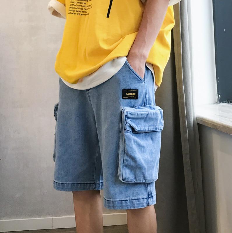 Men's Jeans 2019 Summer Hong Kong New Men's Straight Loose Three-Dimensional Pocket Denim Shorts Fashion Slim Men's Clothing